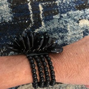 Jewelry - Black beaded bracelet and chandelier earrings